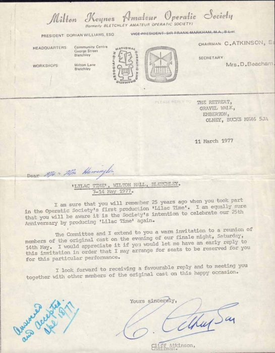 1977 Letter from Operatic Society