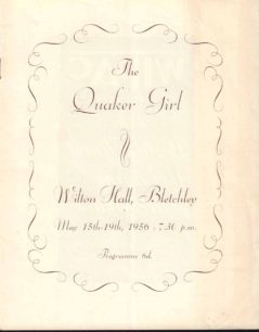 1956 Programme for The Quaker Girl