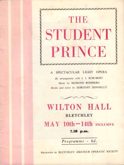 1960 Programme for The Student Prince