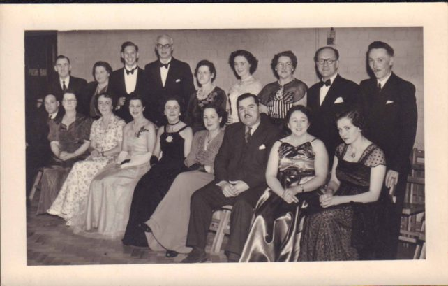 Operatic group photograph with Margery E Harrington