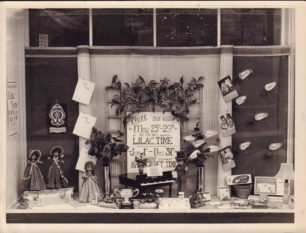 Harrington's shop window display for Lilac Time