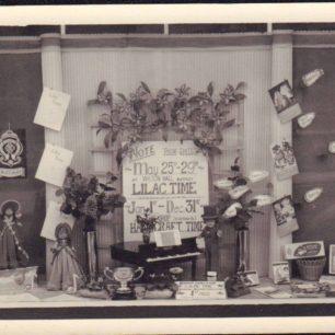 Harrington's shop window display for Lilac Time