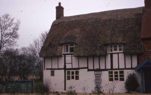 Half timbered thatched cottage