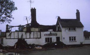 The Swan Inn after fire
