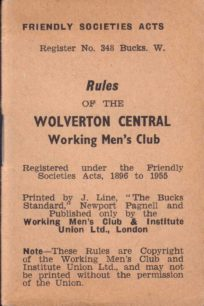 Rules of the Wolverton Central Working Mens Club