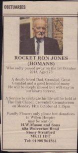 Obituary for Rocket Ron Jones