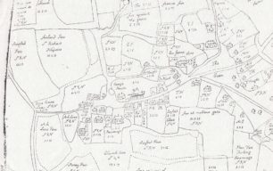 Map of Great Linford & manor estate from C17th original