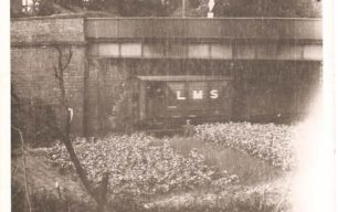 LMS train going under Denbigh Road bridge, Bletchley