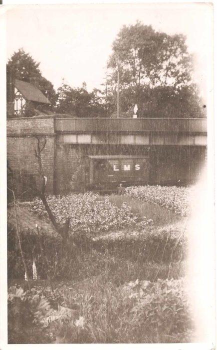 LMS train going under Denbigh Road bridge, Bletchley