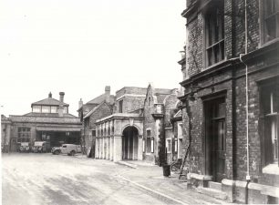 Bletchley Station forecourt and Post Office
