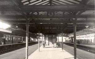 Bletchley Station Platform with four motorcycles