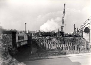 Bletchley Station:  Building the flyover 1958-1960
