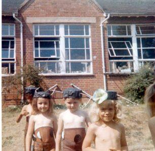 Concert, 4 children in stage costume 1975