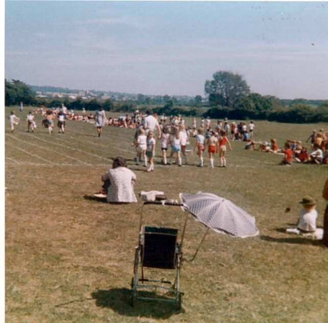 Sports Day, relay race lining up - 1975