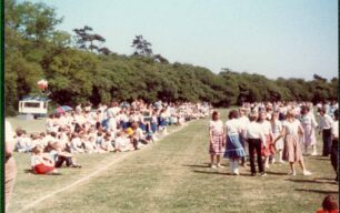 Country Dancing, Middle School, dancers and spectators  - 1980