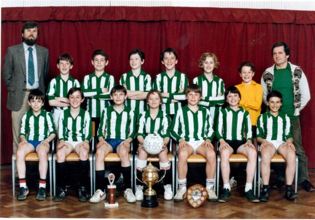 Football team with trophies - 1984/85