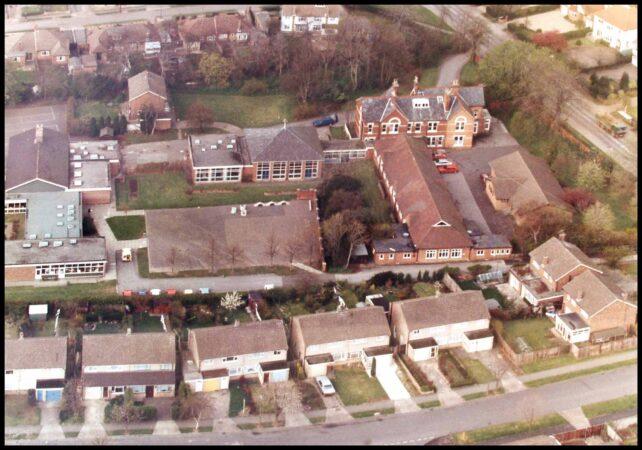 Aerial view of school - main buildings