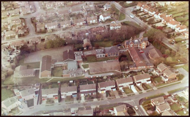 Aerial view of school - whole site