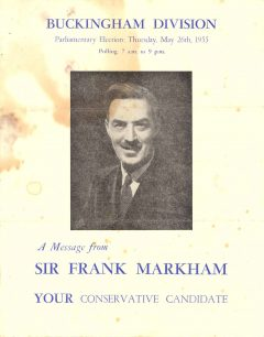 Sir Frank Markham's 1955 Election Message