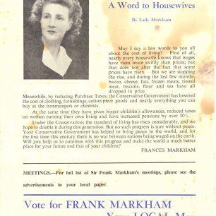 Sir Frank Markham's 1955 Election Message