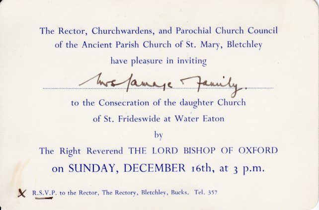 Invitation to Consecration of St Frideswide