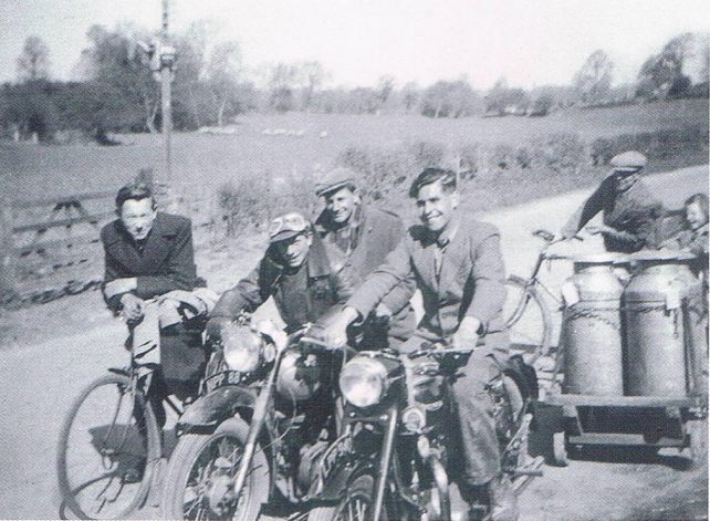 Picture of Dick and friends on motorbikes