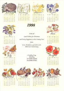 1988 Calendar from Pursell and Son