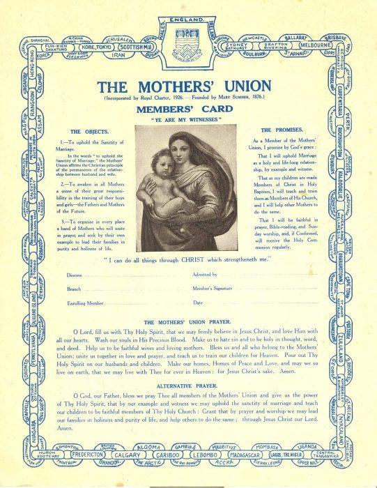 Mothers' Union Membership Card