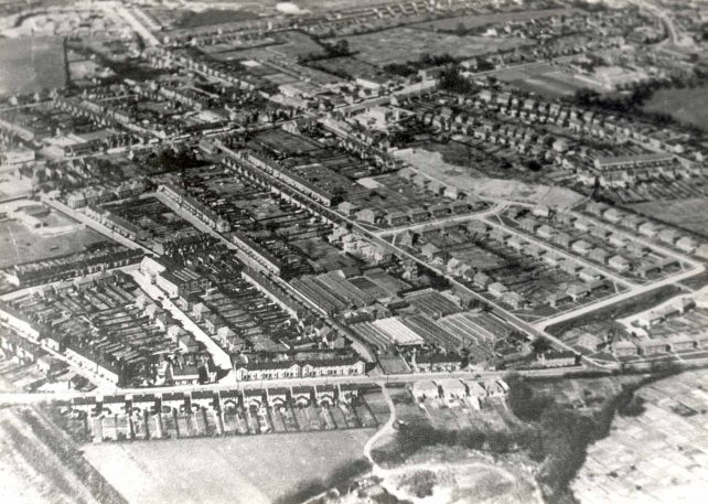Aerial view of Bletchley looking north