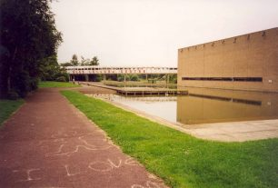 Bletchley Leisure Centre with pond and bridge