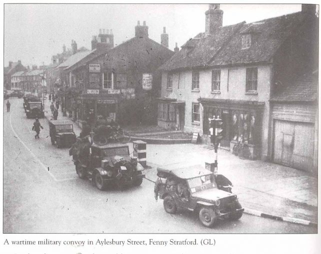 A wartime military convoy in Aylesbury Street, Fenny Stratford