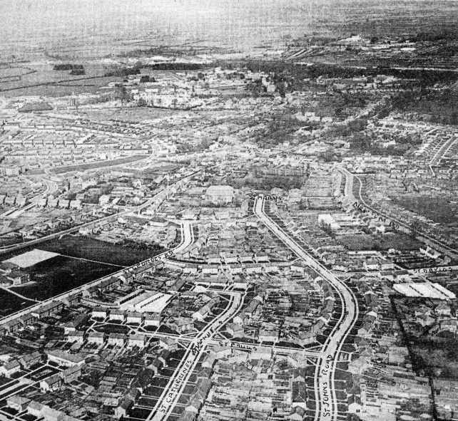 Aerial view of West Bletchley, looking north-east