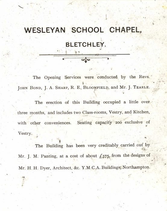 Reverse of the photograph of the Freeman Memorial Church in 1895