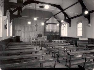 Church interior with pipe organ