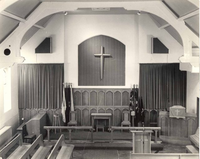 Church interior with electronic organ