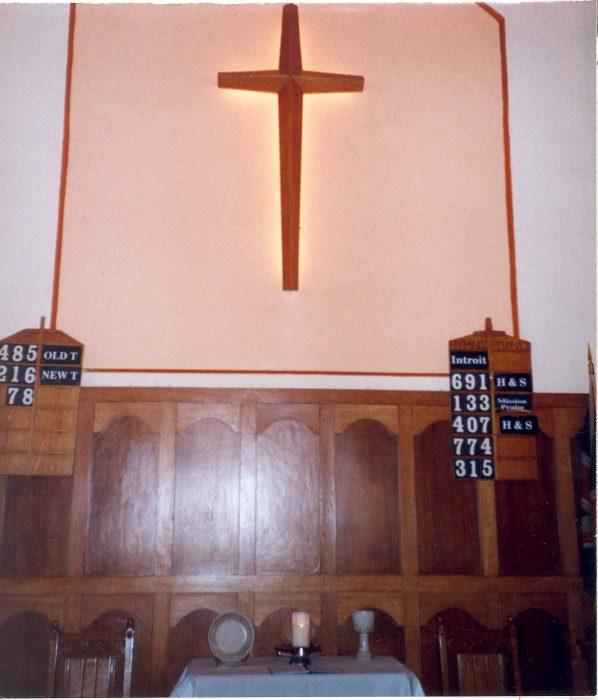 Cross in church interior
