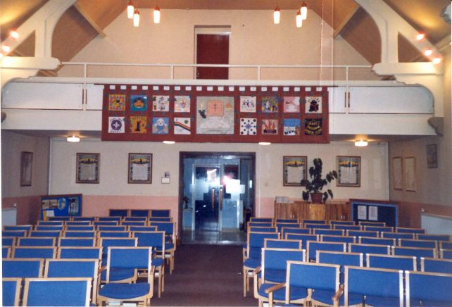 Church rear interior with new chairs