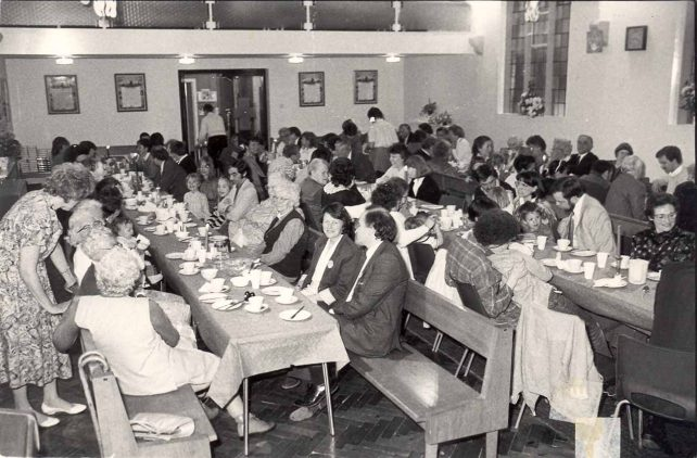 Pentecost meal in church