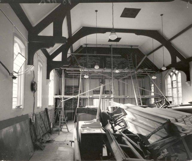 Church interior during refurbishment